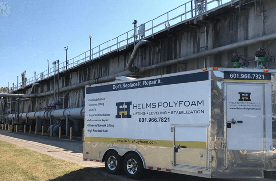 Helms Polyfoam trailer on a city or state government job site