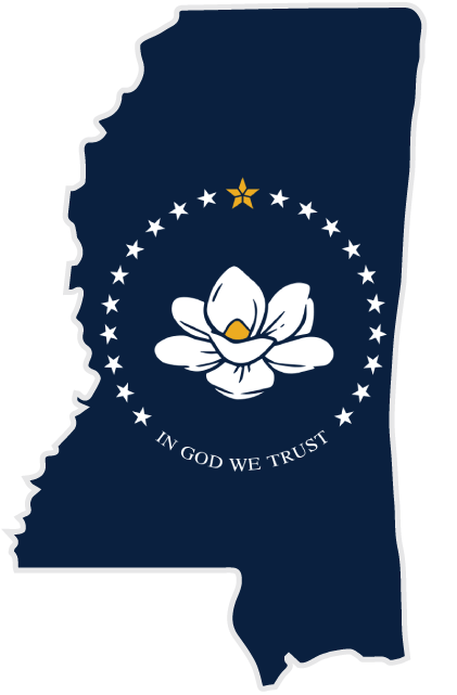 graphic showing the state of Mississippi in blue with the state flower a magnolia
