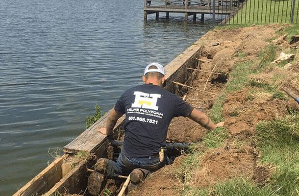 helms polyfoam repairing a seawall