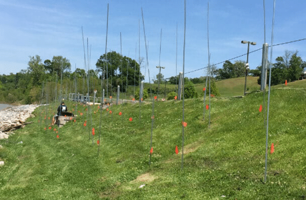 helms polyfoam performing soil stabilization service on a grassy slope